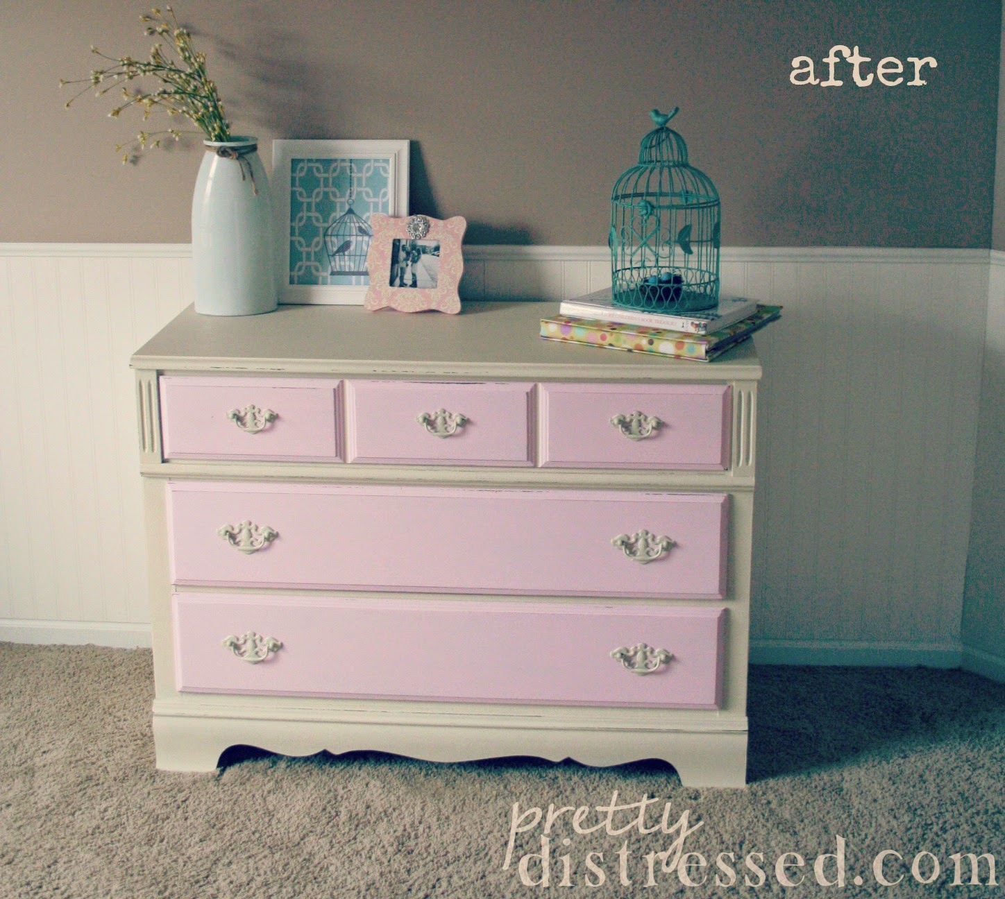 pink white painted girly dresser
