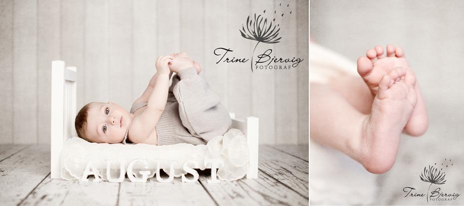 liten guttebaby i hvit seng, og små tær - fotografert i fotostudio i tønsberg av barnefotograf trine bjervig