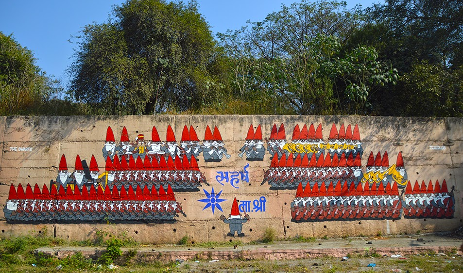 Pune Street Art Project Mural Kasba Peth Dwarfs Boris SM Bridge