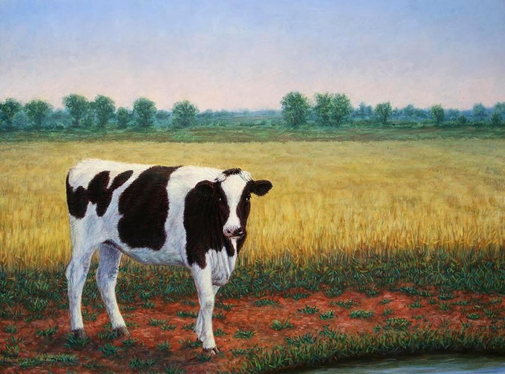 Cuadros modernos pinturas y dibujos animales pinturas al - Cuadros de vacas ...
