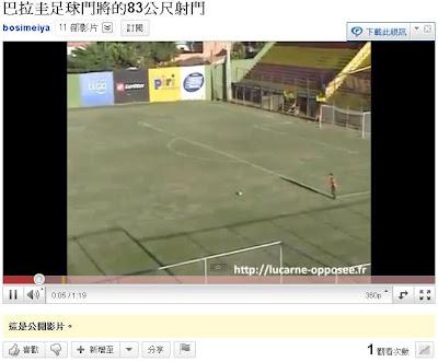 巴拉圭足球門將的83公尺射門