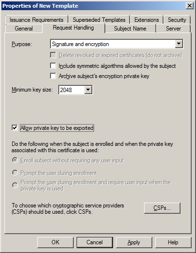 Katalykt preparing a microsoft ca ssl certificate template for the ssl certificates for vmware site recovery manager srm in your infrastructure then make sure that allow private key to be exported is selected you yelopaper Choice Image