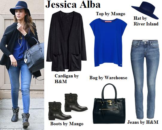 jessica alba, style, boots, cardigan, hat
