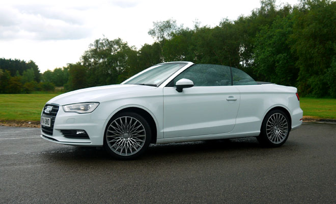 Audi A3 Cabriolet side view, open