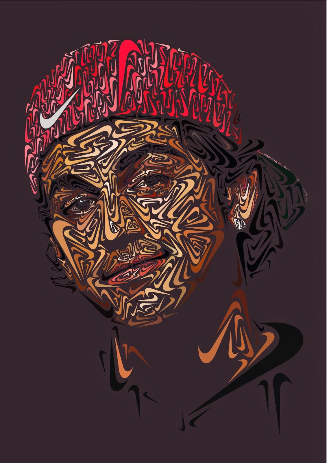 Retratos de deportistas hechos con el logo de Nike