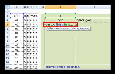 Desloc, Tabela Móvel , Excel