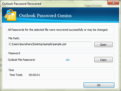 open encrypted Outlook file with recovered password