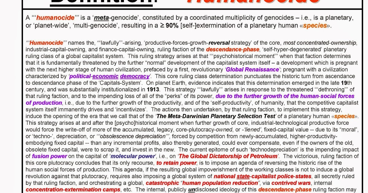 F.E.D. Dialectics: U0027u0027u0027HUMANOCIDEu0027u0027u0027    The Encyclopedia Dialectica  Dictionaryu0027s Definition Of This Crucial Term Has Just Been Posted To The ...