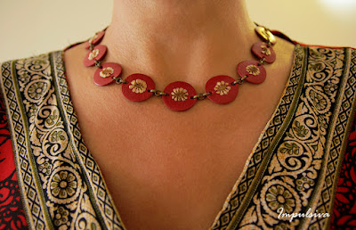 Crimson Leather Circles Necklace with nature seeds, Statement necklace, Nature Jewelry, Made To Order, Gift for her