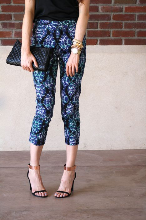 Printed Pants-Fancy Pants-Bar iii- Elizabeth and James Fairfax Sunglasses- Ankle Strap Heels-Golden Divine Blog-street style