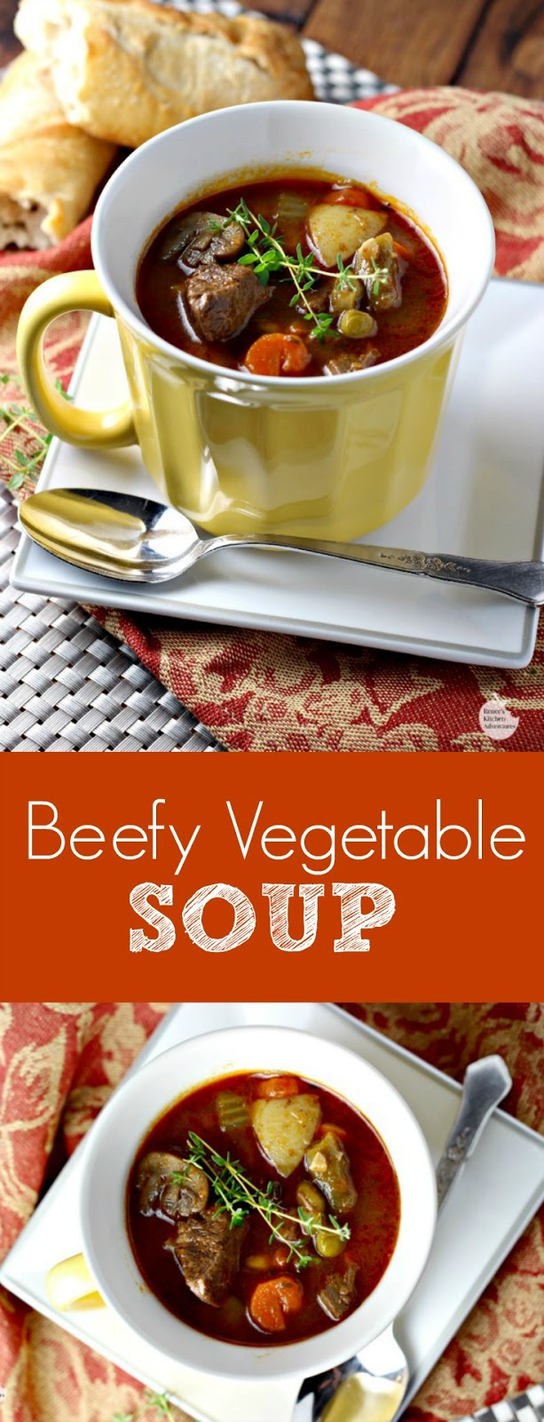 Beefy Vegetable Soup | by Renee's Kitchen Adventures - easy recipe for classic beef vegetable soup full of veggies with a rich broth