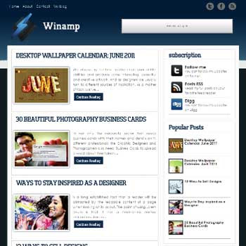 Winamp blogger template. blogger template for music blog