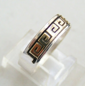 Spiral Native American 14K Gold and Silver Wedding Band