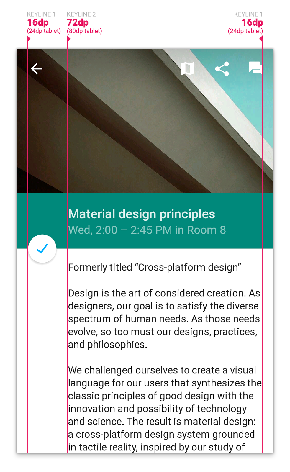 "Another key principle in material design is ""one adaptive design"":"