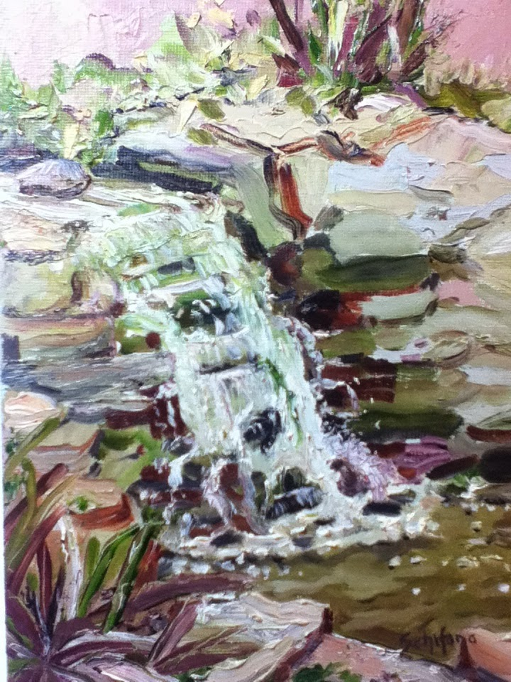 Kath Schifano, greenhouse painting, waterfall art