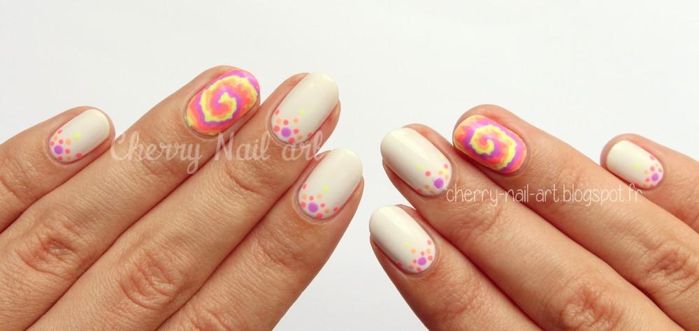 nail art spirale fluo facile au vernis