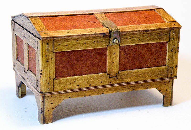Captainu0027s Sea Chest With Inlayed Leather Panels, A Removable Interior Tray,  And A Locking Hasp With Brass Joint Pins At Every Corner.