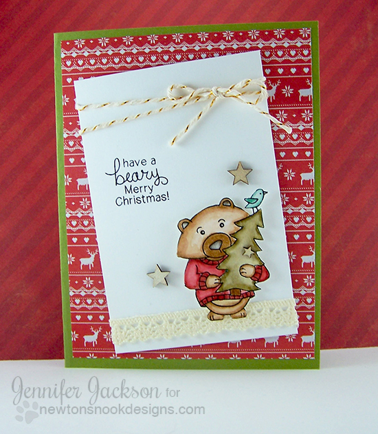 BEARY Merry Christmas Card by Jennifer Jackson | Winston's Home for Christmas | Bear Stamp set by Newton's Nook designs