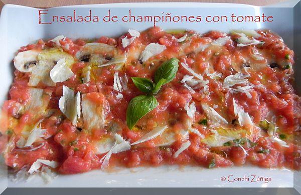 Ensalada De Champiñones Con Tomate Y Albahaca