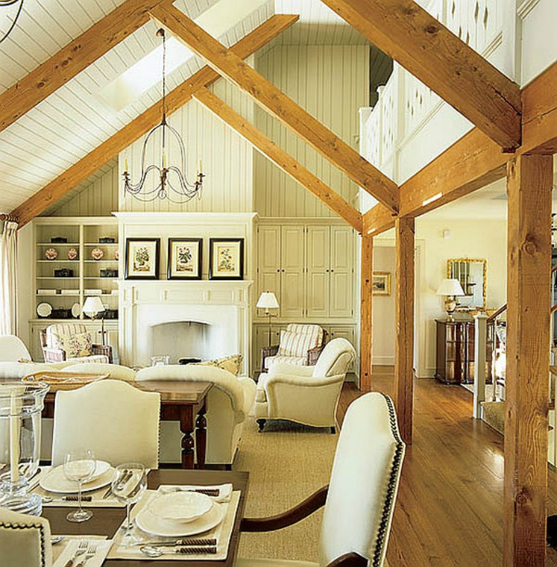 cottage coastal wood beam detail living space