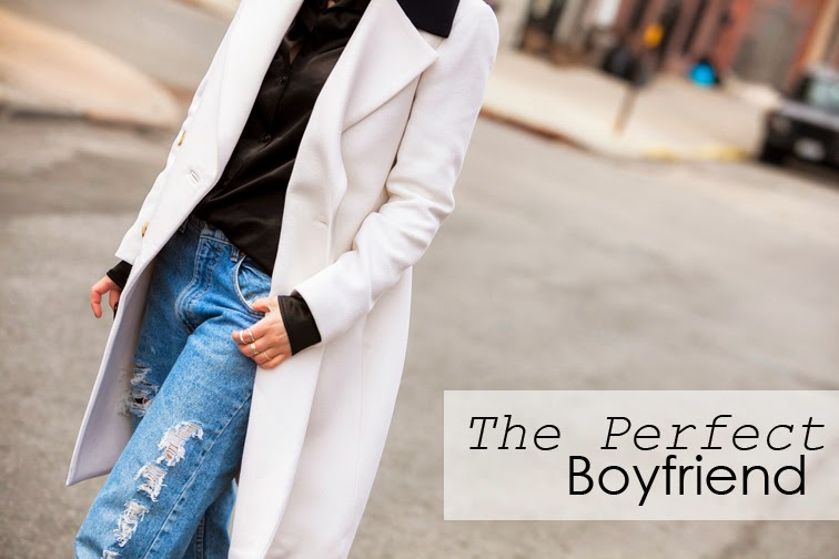 Fashion Over Reason, #theperfectboyfriend, Refind Denim distressed boyfriend jeans, Joseph black satin shirt, white J.Crew coat, Chic Peek rings