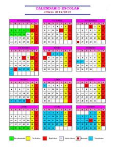 CALENDARIO ESCOLAR DE EXTREMADURA 2012-2013