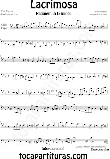 Partitura Fácil  de Lacrimosa para Violonchelo y Fagot by Sheet Music for Cello and Bassoon Partitura Requiem by Mozart Music Scores