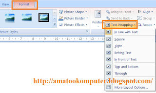 Cara mengatur posisi gamabr di word, text wrapping gambar, tips word word 2007 2