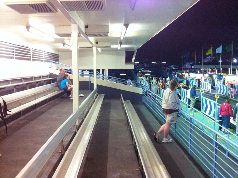 Three rows of bleachers for the Tomorrowland Speedway Grandstand