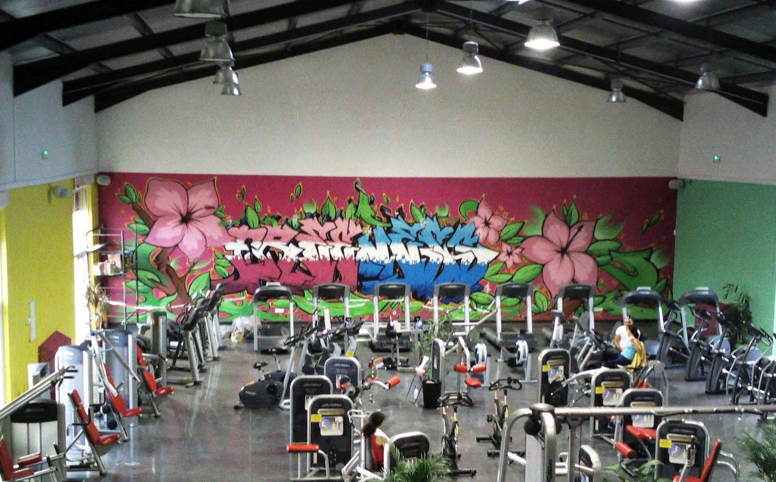 Graffiti 39 s kedar d coration salle de sport freeness pertuis 4m50 x 15 - Decoration salle de sport ...