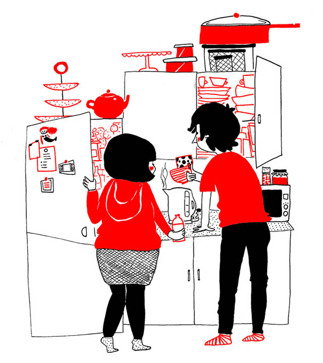 Heartwarming Illustrations Show That True Love Is In The Little Everyday Things - Sometimes, love can be found in the simplest things, like spending a blissful morning in the kitchen
