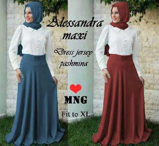 Alessandra Maxi Dress - Maxi Dress bahan Jersey + Pashmina