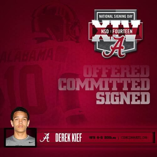 Derek Kief graphic, posted on the Official Facebook page for Alabama Football
