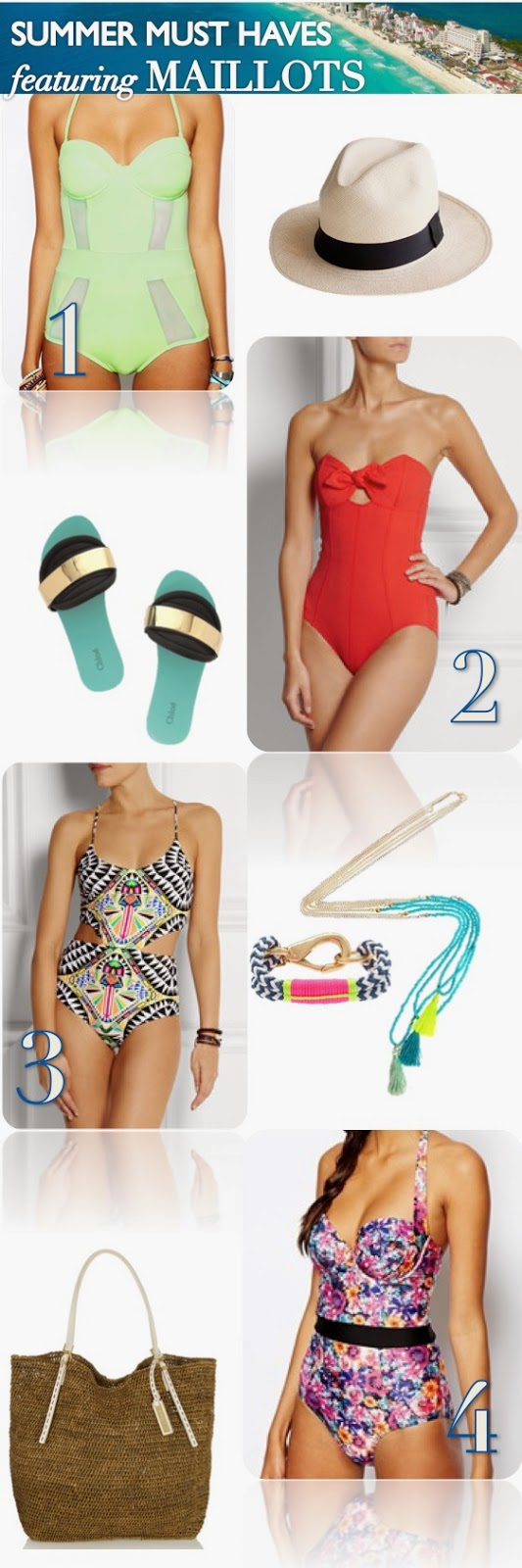 thewellset.com's Summer Must Haves featuring the Maillot - Mara Hoffman, ASOS, J.Crew, Michael Kors, and Chloe