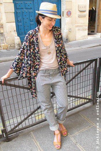 Soldes Veste oversize loose kimono Pyrus London imprimé fleurs Stormy