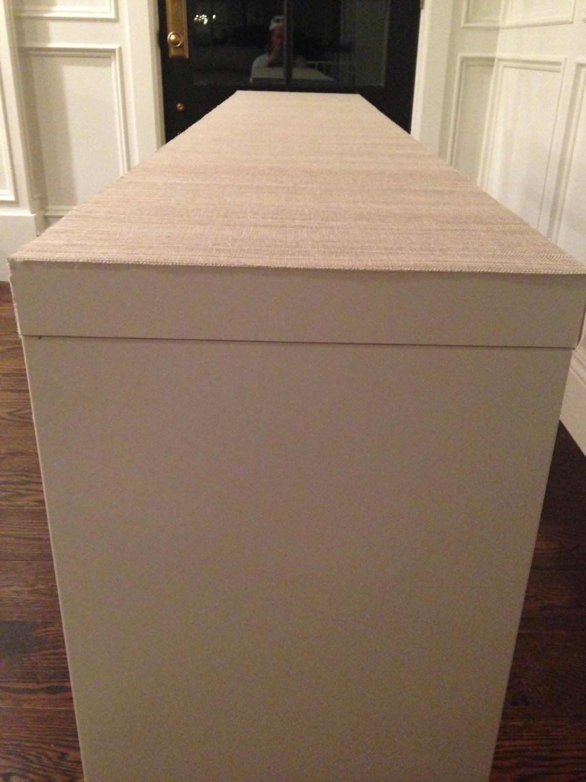 IKEA HACK   MALM TABLE TO GRASSCLOTH CONSOLE