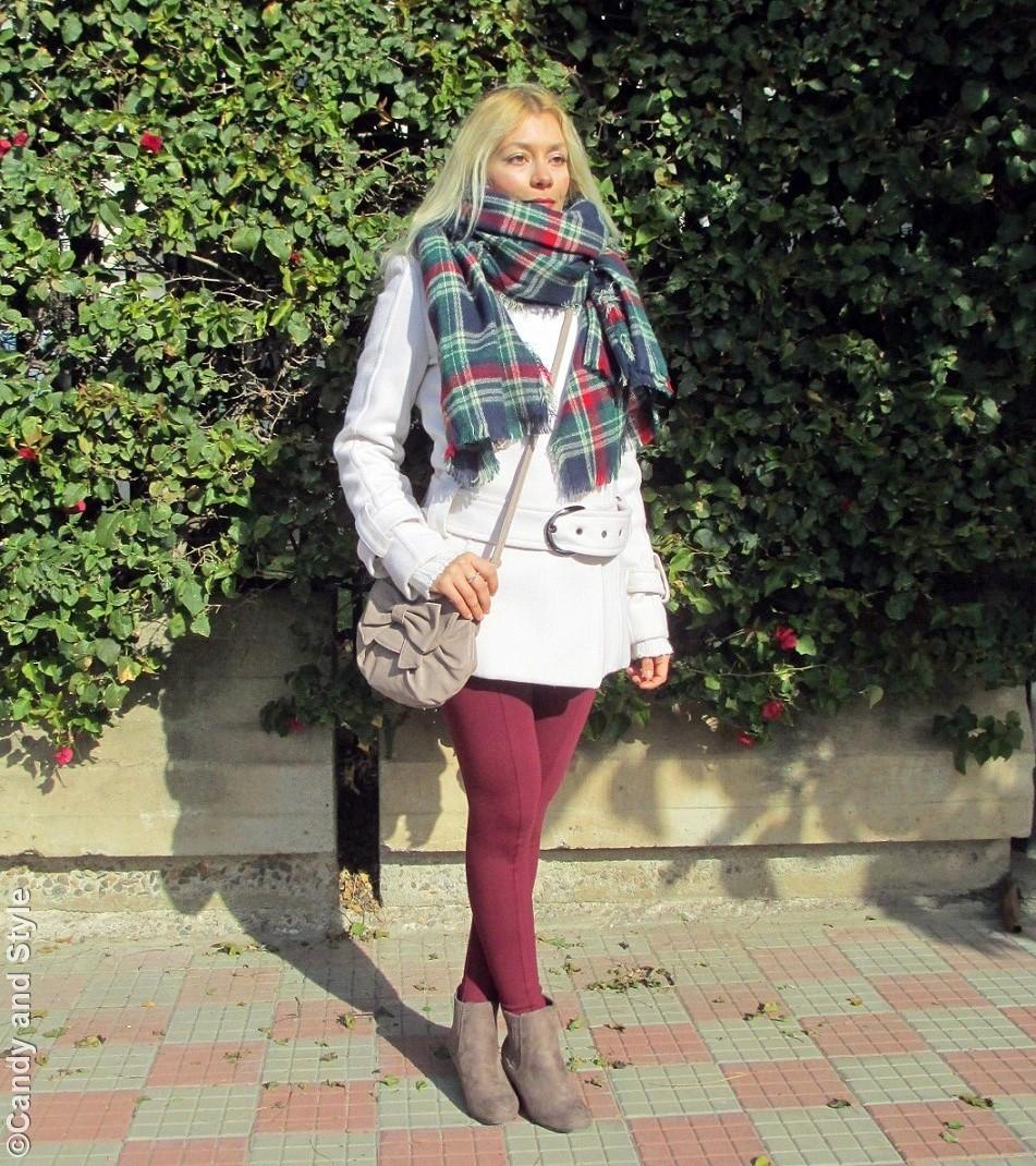 OversizedPlaidScard+WhiteCoat+BurgundyLeggings+BeigeBooties+CrossbodyBag - Lilli Candy and Style Fashion Blog
