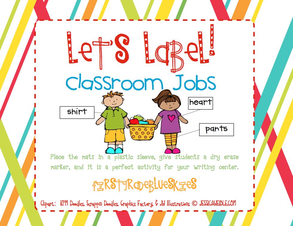 Classroom Job Ideas 1st Grade ~ Label it classroom jobs first grade blue skies