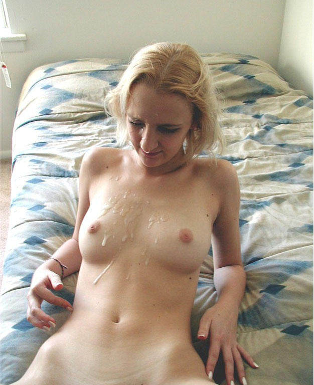 Blonde Girl Cumshot all over her body
