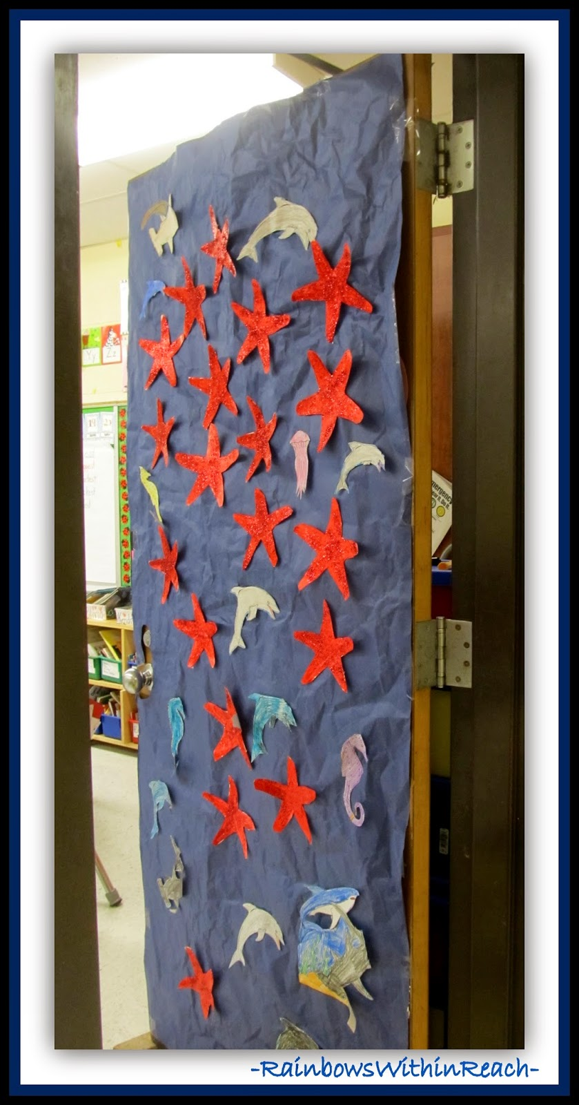 Ocean Theme Decorated Classroom Door {Ocean RoundUP at RainbowsWithinReach}