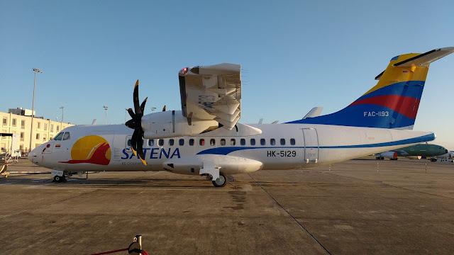 Este es el FAC1193, el nuevo avión ATR-42 600 de la aerolínea colombiana SATENA.