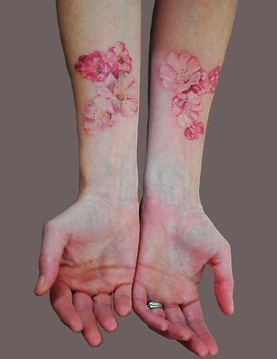 Gombal tattoo designs pink color tattoos pomegranate for Pink ink tattoo