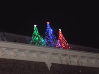 Christmas trees in lights on roof tops