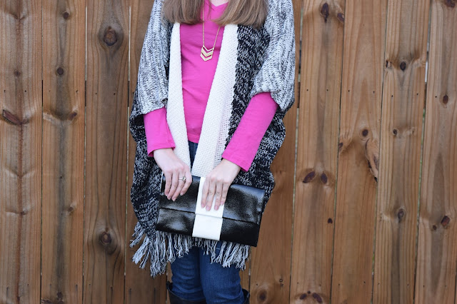 fringe cardigan, clutch, chevron necklace