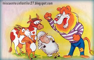 Fabula sobre el Engaño y la Mentira: El León, la Vaca, la Cabra y la Oveja -  Cuentos cortos para niños