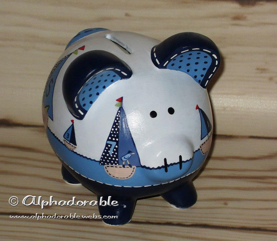 Alphadorable custom hand painted piggy bank to match row your boat crib set by pottery barn - Nautical piggy banks ...