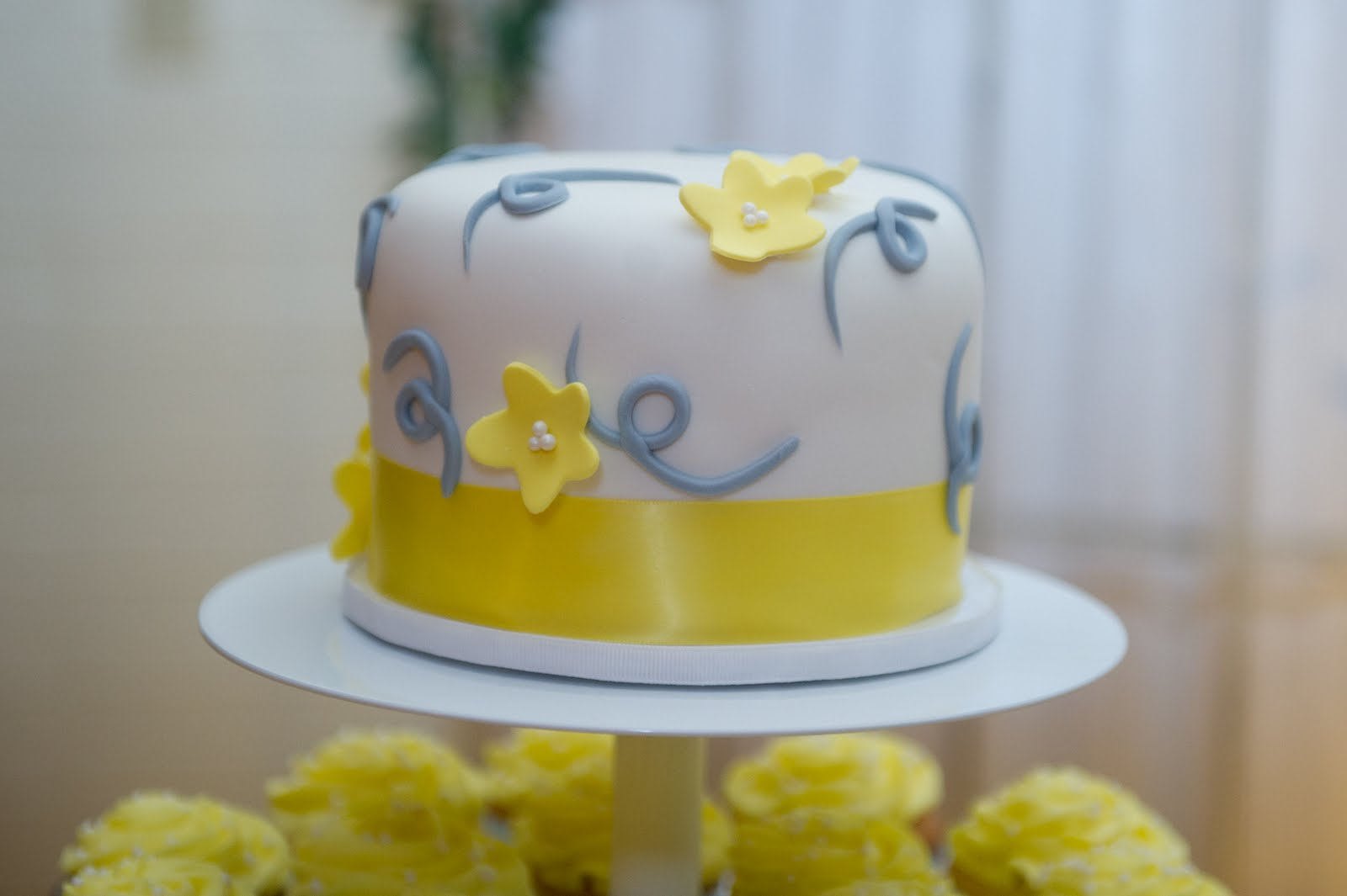 Decadent Designs: Ashley\'s Yellow and Grey Cupcake Wedding Cake