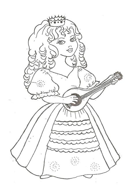 صورة بنت ملكة تعزف على العود لتلوين الصغار