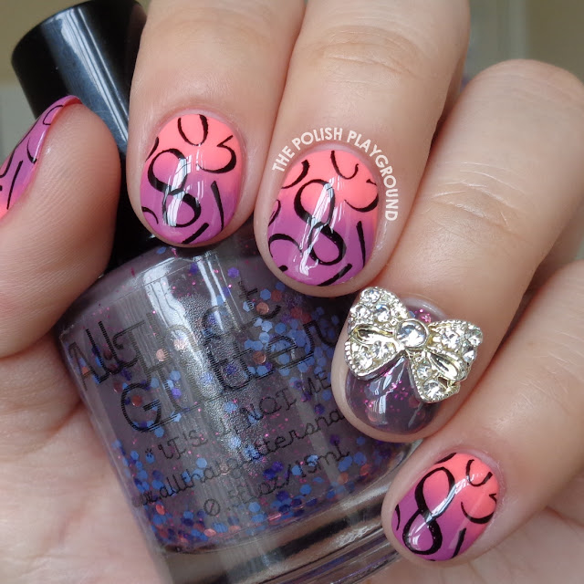 Pink and Purple Gradient with Number Stampng Nail Art