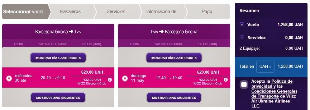 Oferta vuelos directos Girona Lviv